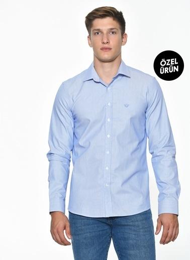 Beymen Business 4B2019200054 Slim Fit Gömlek Armürlü Mavi
